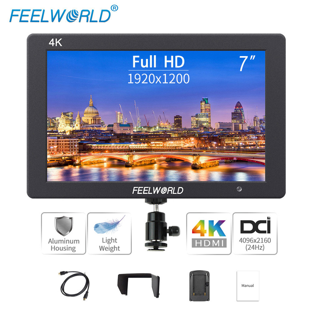 Feelworld T7 7 inch On Camera Field DSLR Monitor 4K HDMI Ultra Full HD 1920x1200 LCD IPS Display Portable for Sony Nikon Camera feelworld f7s 7 inch sdi 4k hdmi on camera dslr field monitor full hd 1920x1200 aluminum housing small lcd ips external display