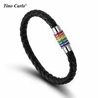 التيتانيوم الصلب سحر سوار بو الجلود نسج المغناطيس rainbow فخر المثليين ضافر مجوهرات-غاي و مثليه pride