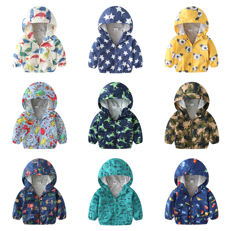 Spring Autumn Children Jackets New 2Y 6Y Cartoon Print Baby Boys Outerwear Coats Casual Hooded Jackets For Boys