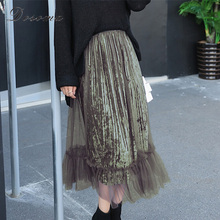 velvet mesh patchwork long skirt women 2017 vintage black velvet maxi skirt women high waist mesh mermaid skirt velour women
