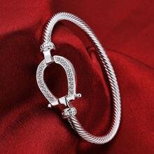 Rhinestone Horseshoe Silver Bracelet