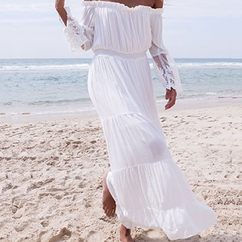 5061c675ac Aliexpress.com : Buy Women Sexy Lace Patchwork Maxi Long Dress 2018 Slash  Neck Off Shoulder Flare Sleeve Beach Party White Dresses Robe Vestidos from  ...
