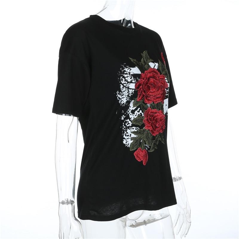 HTB1rFTnQXXXXXcnXXXXq6xXFXXXj - Women Flower Rose Embroidery T shirts PTC 123
