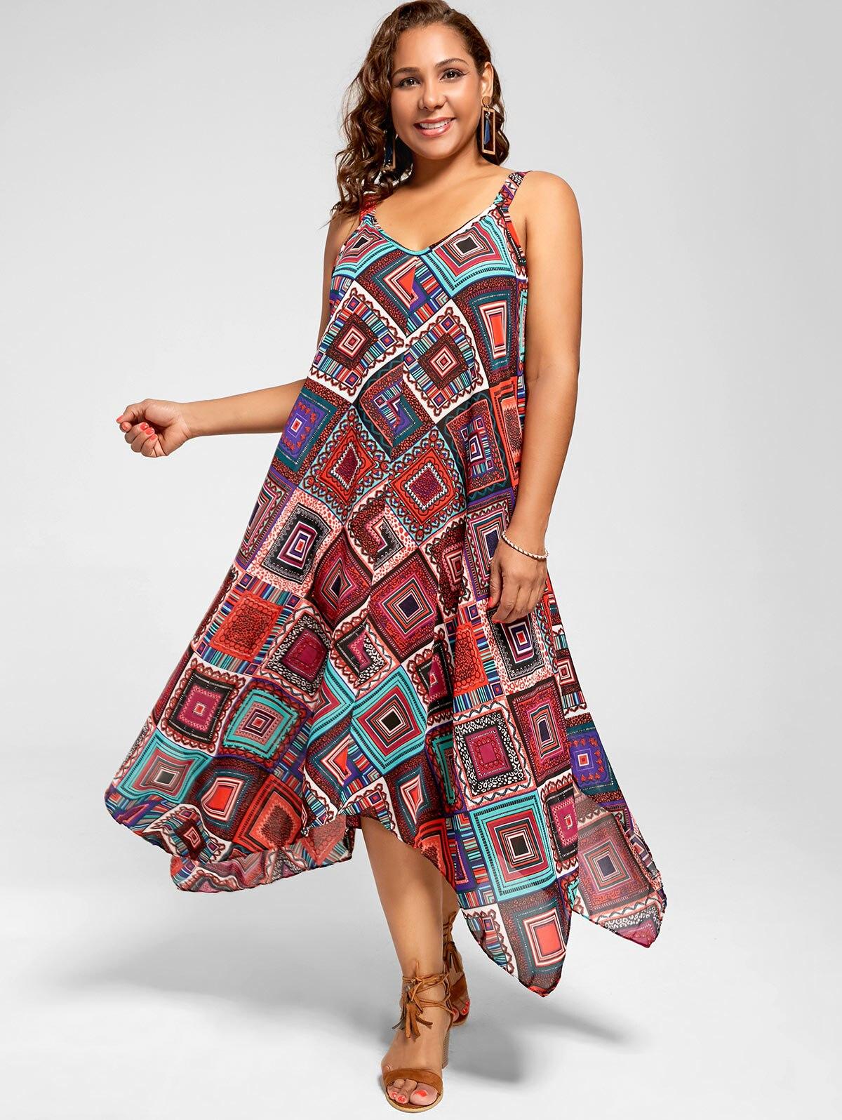 29fa2c7610a01 Gamiss Summer Women Plus Size 5XL Spaghetti Strap Geometric Print ...