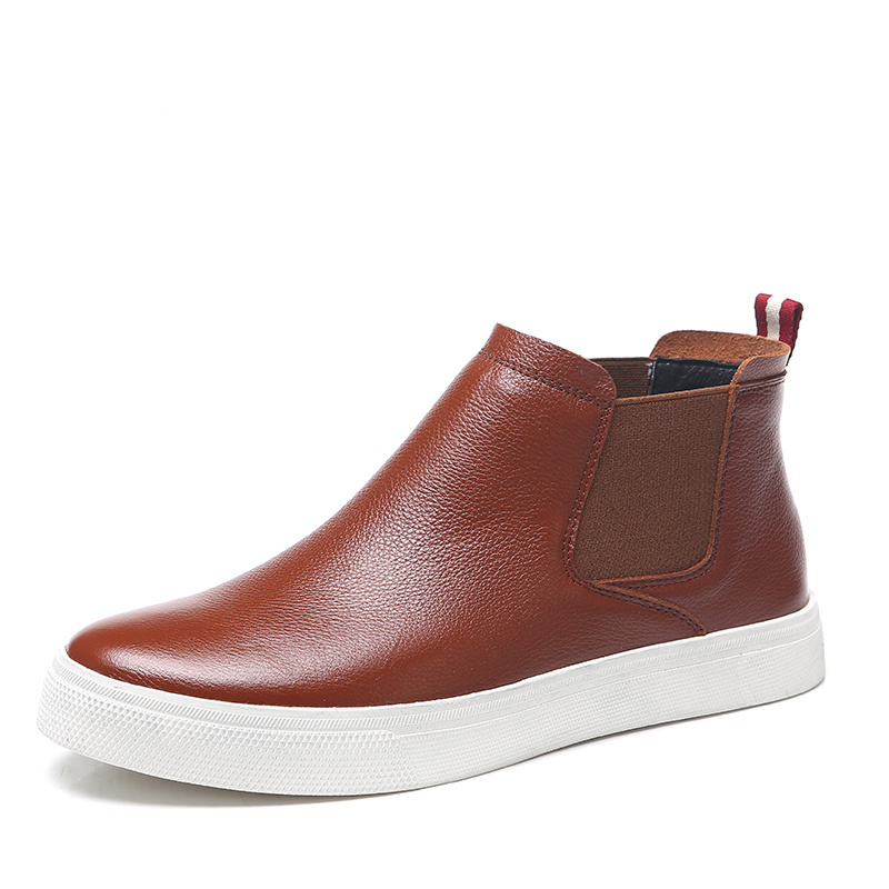 ФОТО New Fashion Vintage TOP Genuine Leather Pull On Ankle Boots Mens Business Casual Chukka Shoes