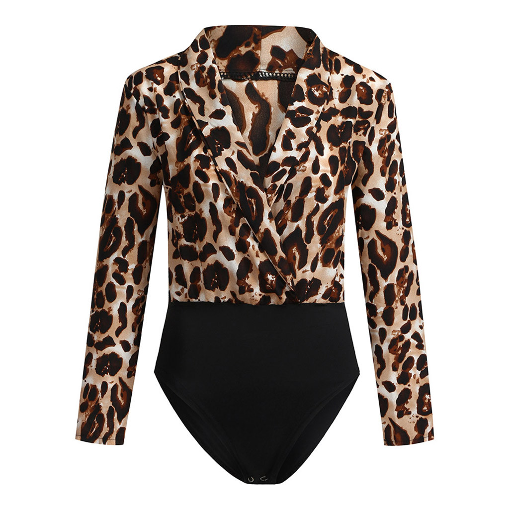 2019 autumn long sleeve V-Neck bodycon sexy Leopard Print bodysuit women fashion casual   Jumpsuits   Bodysuits Rompers
