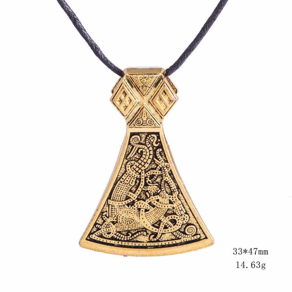 Dawapara Viking Axe Privjesak Ogrlice Nakit Mammen Goth Muški - Modni nakit - Foto 5