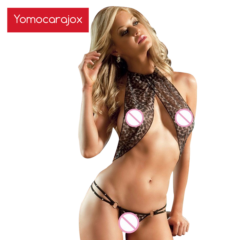 Hot Women Leopard Halter Bra+open Crotch Thongs Lingerie Teddy Erotic Sexy Costumes Expose Underwear <font><b>Catsuit</b></font> <font><b>Sex</b></font> Shop Body Suit image