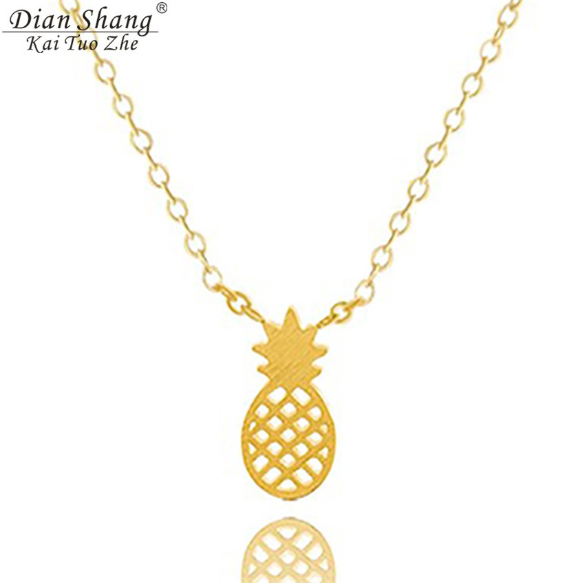 DIANSHANGKAITUOZHE Silver Rose Gold Chain Pineapple Necklace Pendant Sherlock Stainless Steel Jewelry For Women Bridesmaid Gift