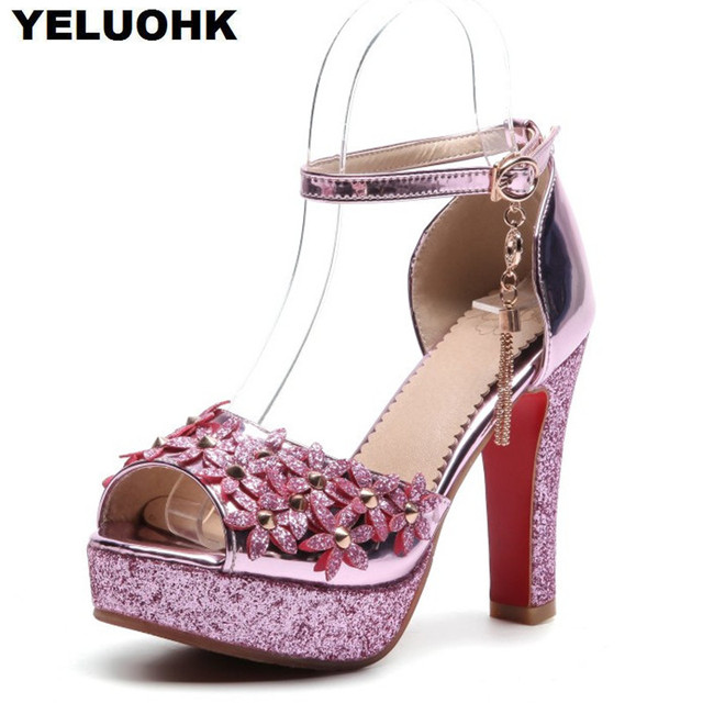 Plus Size Flower Wedding Shoes Women Sexy High Heels Summer Shoes Ladies  Pumps Open Toes Shoes