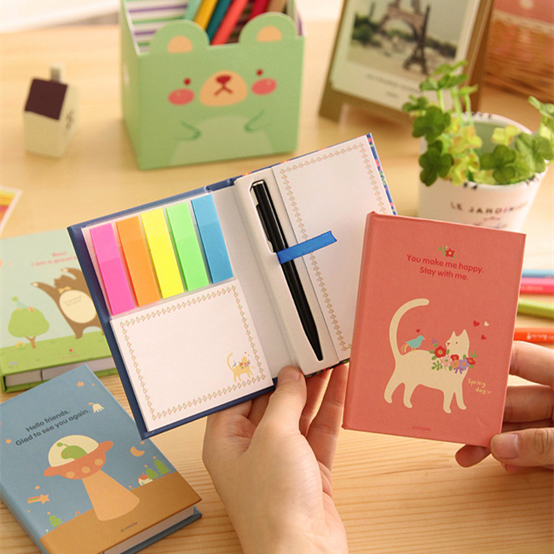 Cute Memo note set Rainbow Hard cover sticky notes Cartoon animal bear cat stickers Stationery Office school supplies A6774 10pcs 5w 51r 51 ohm cement resistor