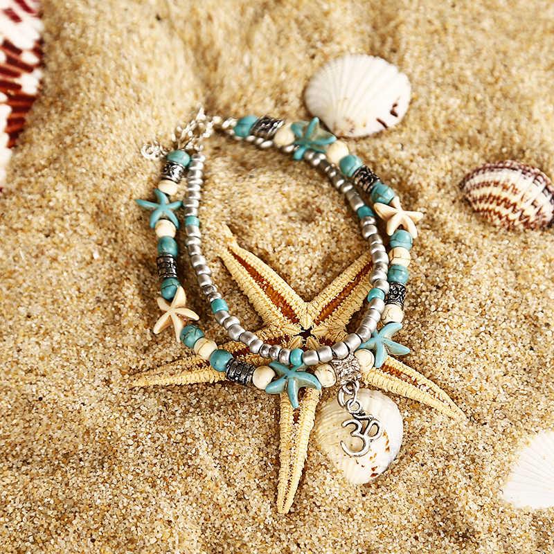 Grânulos do Escudo do vintage Starfish Sea Turtle Tornozeleiras Para Mulheres New Multi Camada Tornozeleira Pé Pulseira Artesanal Jóias Boêmio