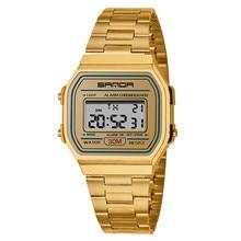 SANDA digital watch stainless steel bracelet quartz wrist watch sport women watches fashion ladies watch reloj digital mujer