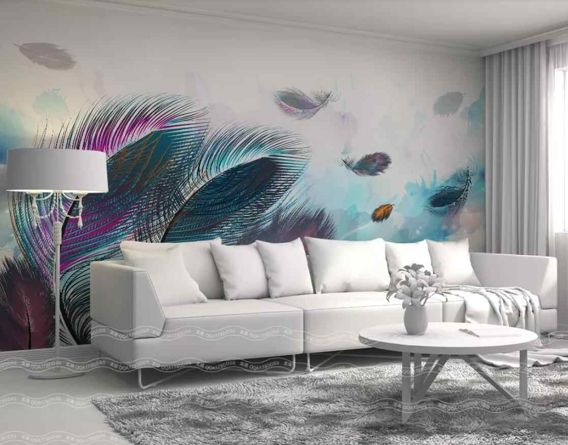3d Colorful Feather Mural Wall Paper Wall Painting Hand Painted Canvas Contact Paper Custom Wallpapers For Living Room
