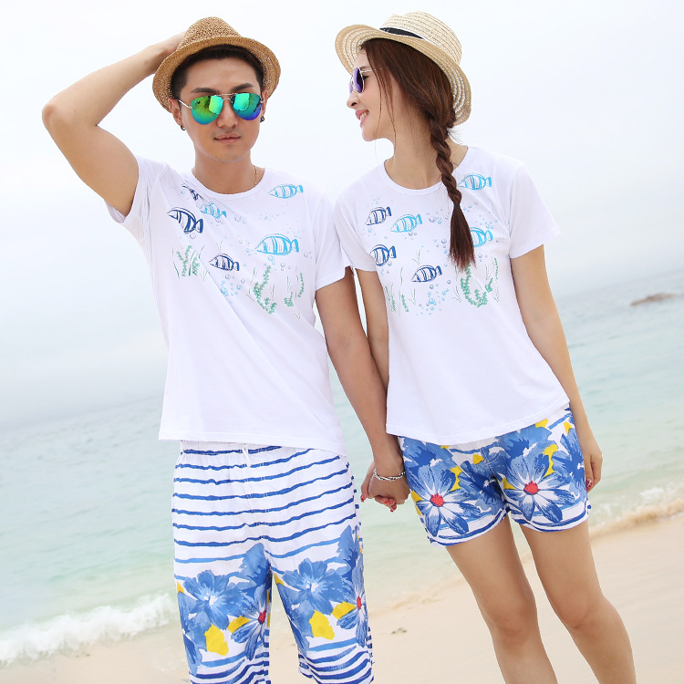 Parent child mother and daughter father family suit cotton casual fashion printing a family of three home loaded beachwear in Matching Family Outfits from Mother Kids