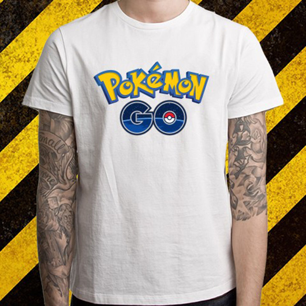 New Pokemon Go Logo *Pikachu Popular Game Mens White T-Shirt Size S To 2XL Mens T Shirts Summer Hipster Top Tees