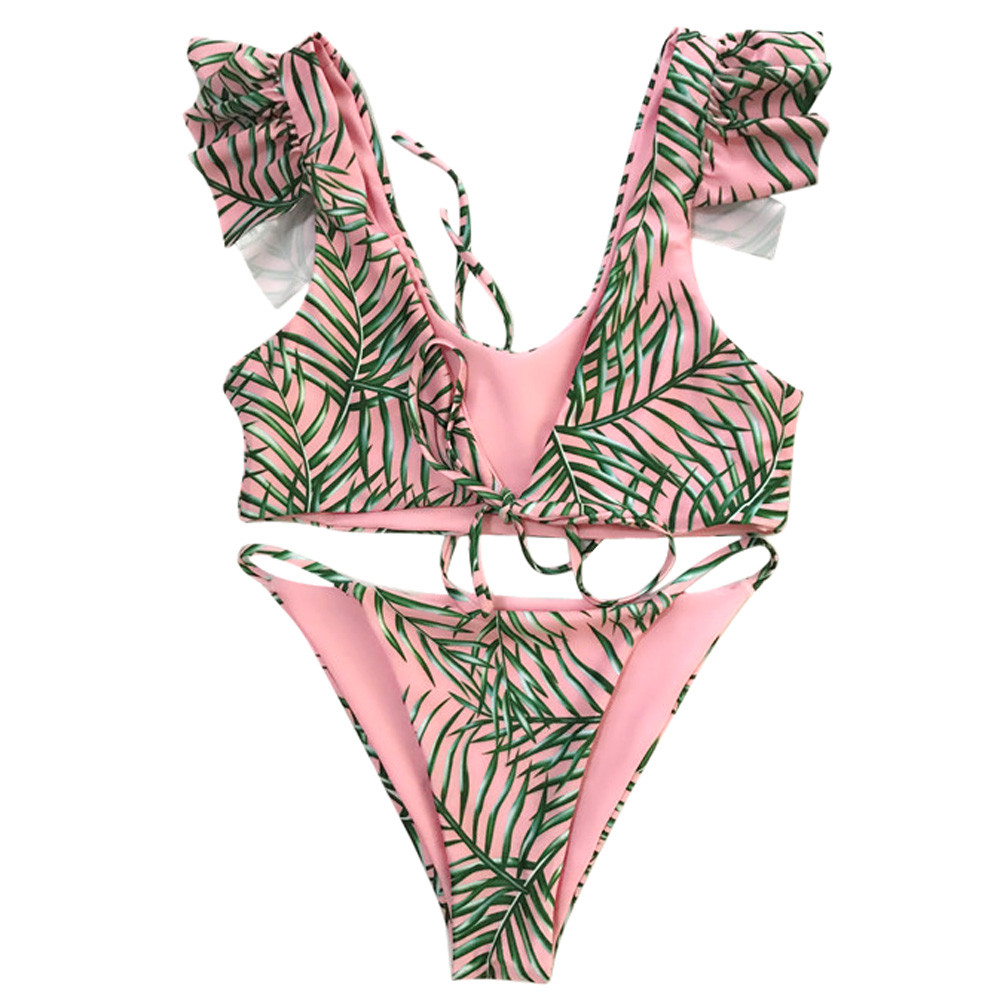 Sexy Swimmer Bikini Women Swimsuit Swimming Suit Beach Leaf Print Bandage Bikini Set Swimwear Push-Up Swimsuit Beachwear Bathing 2018 sexy lace bikini swimwear women swimsuit halter push up bikini set bandage swimsuit bathing suit swimming suit for women xl