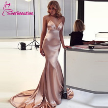 Mermaid Evening Dress Long 2019 Satin V-Neck Evening Party Dresses Prom Gown Sexy Backless Robe De Soiree Abendkleider