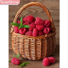 EverShine Diamond Embroidery Full Display Fruit Mosaic Picture Of Rhinestones Painting Flowers Sale Raspberry