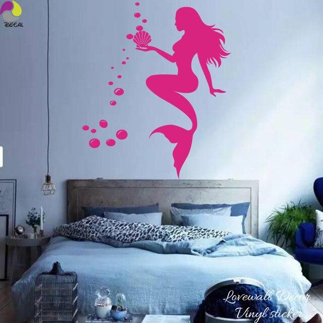 Cartoon Mermaid Wall Sticker Baby Nursery Cute Nymph Sexy Girl Ocean Fish  Bubbles Wall Decal Bathroom Part 90