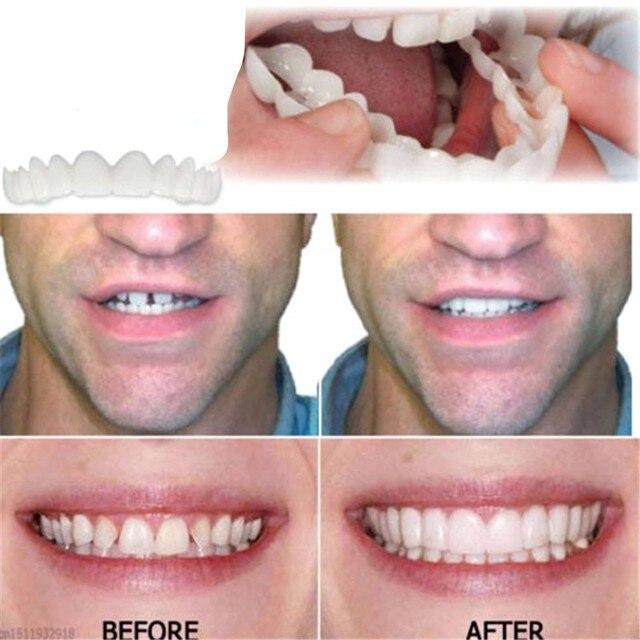 Diseño práctico de las mujeres de los hombres diente sonrisa instantánea confort ajuste Flex dientes encaja Blanqueamiento Dental sonrisa dientes falsos cubierta