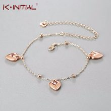 Sexy Rose Gold Love Heart Ankle Bracelet Chain Foot Ankle Gift 2018 New Beach Anklets Jewelry Kinitial Brand(China)