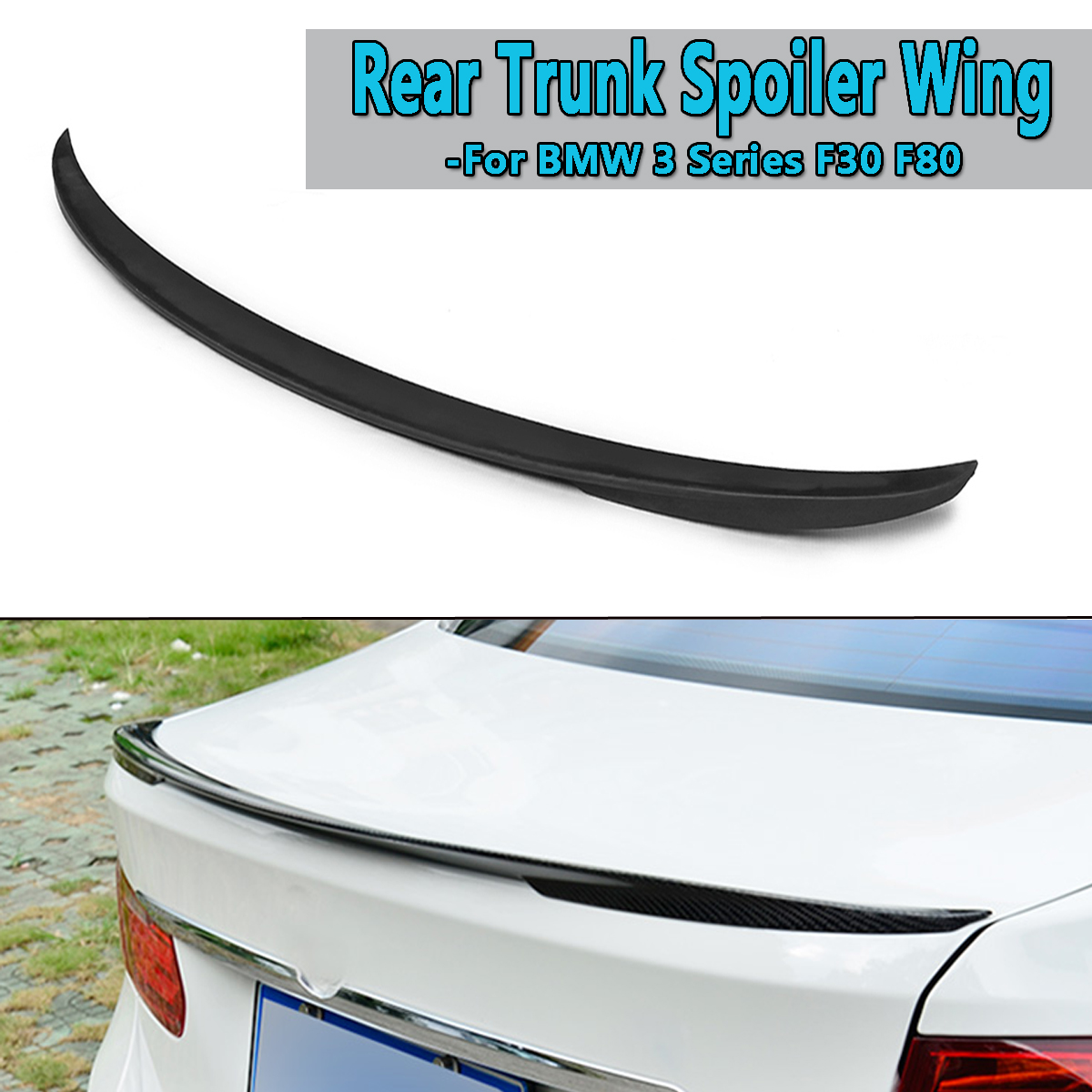 New Car Rear Trunk Spoiler Wing For BMW 3 Series F30 F80 ABS Plastic Black Rear Wing Spoiler Rear Trunk Roof Wing 123cm wing
