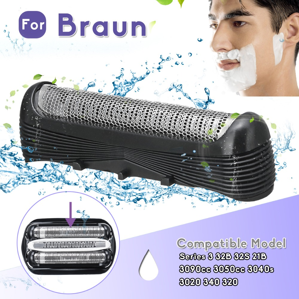 Shaver Replacement Foil Head For Braun Series 3 32B 32S 21B 3050cc 3090cc 3040s 3020 340 320 ABS Stainless Steel Shaver Head