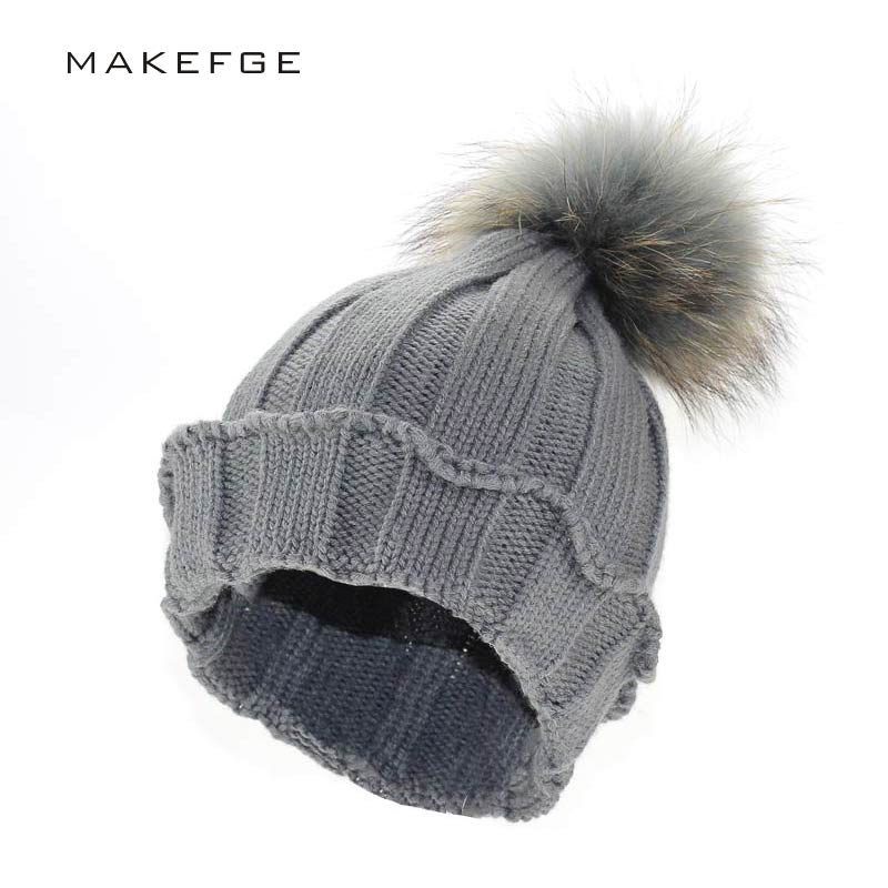 raccoon fur ball hat Mink Fur Pom Poms Knitted Hat Ball Beanies Winter Hat For Women Girl Wool Hat Cotton Skullies Female Cap new star spring cotton baby hat for 6 months 2 years with fluffy raccoon fox fur pom poms touca kids caps for boys and girls