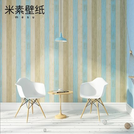 Mediterranean stripe non-woven fabrics wallpaper  bedroom living room TV backdrop retro wallpaper 0.53m*10m