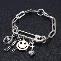 Trendy jewelry 925 Sterling Silver Pin style Simple and Cute Bracelets for Women's with smiling face cross feather pendant