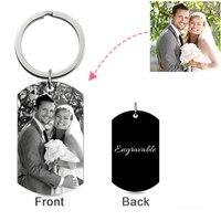 Custom Photo Keychain Personalized Black Titanium Steel Picture Key Chain Keychains for Men Boyfriend Gift Llavero Presents