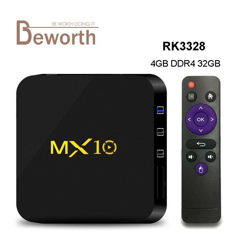 MX10 4GB DDR4 32GB TV BOX Android 7.1 RK3328 Quad Core Rockchip Smart BOX Support 4K H.265 HDR WIFI HDMI Streaming Media Player scishion v88 plus tv box rockchip 3229 quad core android 5 1 wifi h 265 vp9 4k smart set top box media player pk v88 v88 pro x96