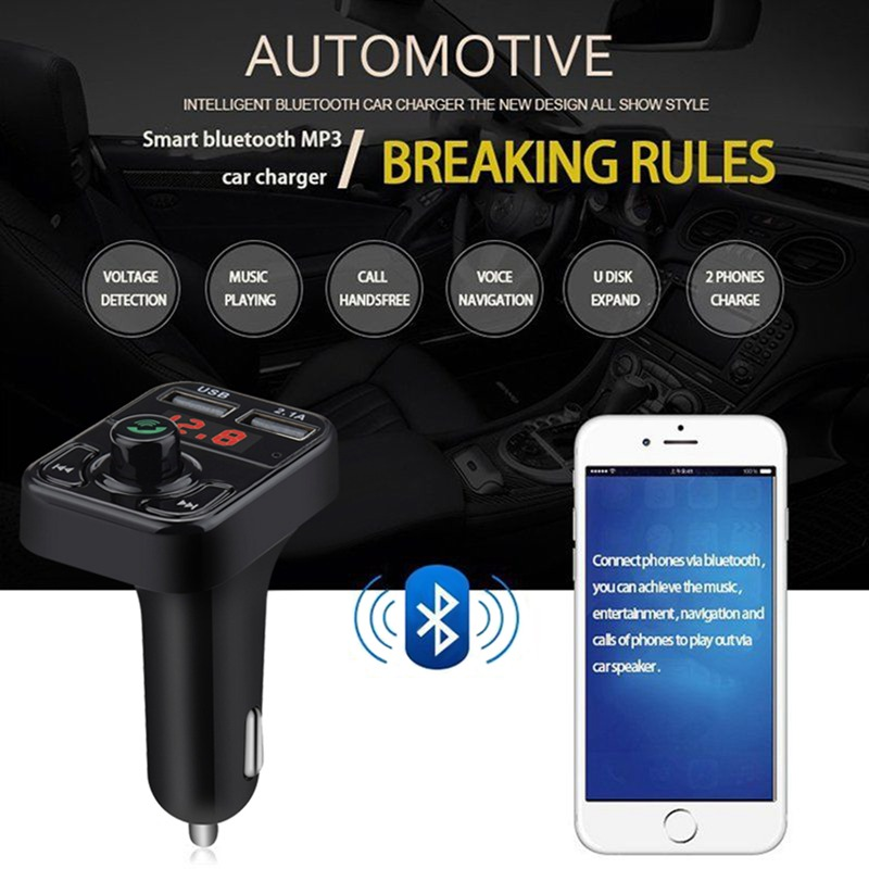 VicTsing Bluetooth MP3 Player FM Transmitter Handsfree Wireless Radio Adapter USB Car Charger 2.1A MP3 Player SD Music Playing   (1)