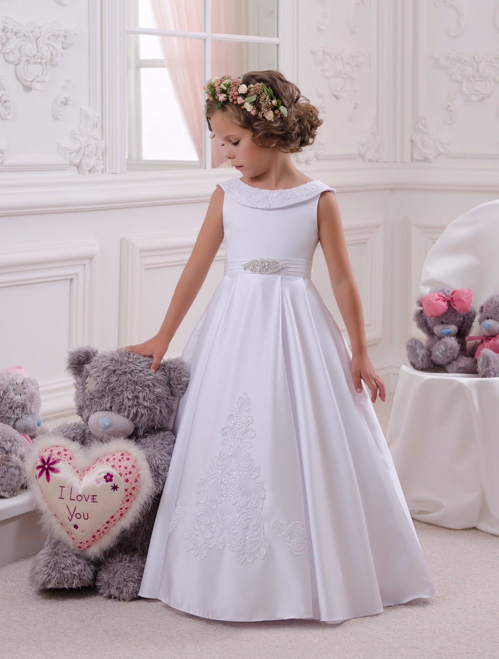 Sleeveless Holy Communion Infant Kids Floor Length Lace Satin Gowns Beading  Flower Girls Strapless Dresses with Bow Belt  0-12