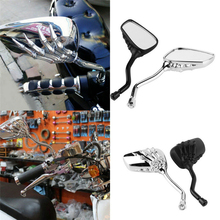 2X Universal Motorcycle Chrome SKELETON Skull HAND Claw Side Rear View Mirrors 8mm to 10mm