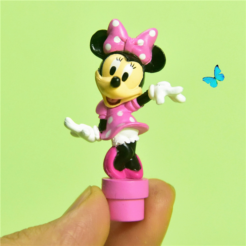 48piece 4 5cm classical minnie mouse pink color small figure toys cute minine microlandschaft figures
