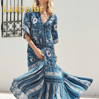 Laipelar bohemia flowing summer dress V neck Kimino wide sleeve floral print dress women maxi dress 2018 vintage ethnic clothes