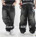 Большой размер верховный хип-хоп мужская Embroideried печать жан брюки, Мода широкий скейтборд брюки бесплатная доставка