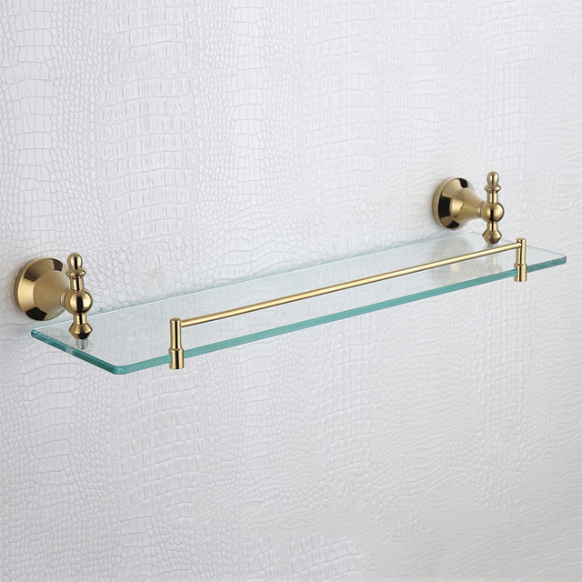 Rose Gold Single Glass Shelves Vintage Shower Soap Shampoo Rack Wall ...