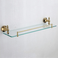 Rose Gold Single Glass Shelves Vintage Shower Soap Shampoo Rack Wall Mounted 304 Stainless Steel and Copper Bathroom Shelf