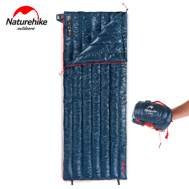 NatureHike NH17Y010-R Ultralight Envelope Sleeping Bag Goose Down Spring and Autumn Lazy Bag Camping Down Sleeping Bags naturehike portable double sleeping bag liner bags 2colors 2200x1600mm ultra light spring summer camping envelope lazy bag 850g