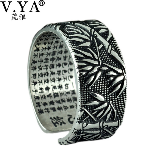 V.YA 925 Sterling Silver Buddhism Heart Sutra Rings For Men Classic Bamboo leaves Thai Silver Open Ring Mens Jewelry