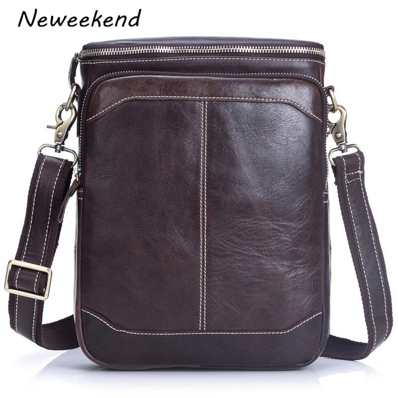 NEWEEKEND Men. HandBag Crazy Horse Genuine Leather Over Shoulder Bags  Messenger Briefcase Portfolio Men s Crossbody ... babfe88234