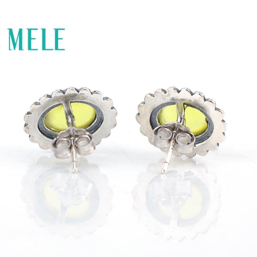 Boucles d'oreilles en argent naturel 7mm X 9mm jaune préhnite 925 pour femmes, Vintage sculpture artisanat ovale coupe à la mode et à la mode - 3