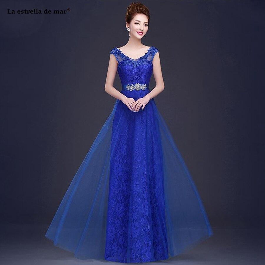 Robe demoiselle d'honneur 2019 new Scoop neck lace cap sleeve A Line purple royal blue turquoise burgundy   bridesmaid     dresses