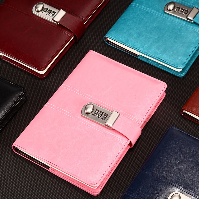 New Leather Notebook paper Diary with Lock code password notepad 100 sheets  backpack Note book A5 Office school supplies Gift