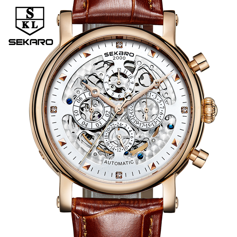 SEKARO Brand De Luxe Mechanical Watches Men Skeleton Dial Roman Clock Casual Watches Relogio Men's Mechanical Hand Wind Watch ks black skeleton gun tone roman hollow mechanical pocket watch men vintage hand wind clock fobs watches long chain gift ksp069