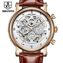 SEKARO Brand De Luxe Mechanical Watches Men Skeleton Dial Roman Clock Casual Watches Relogio Men's Mechanical Hand Wind Watch
