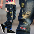 Unique Design Men's Street Hole Jeans Loose and Plus Size Male Hiphop Straight Trousers
